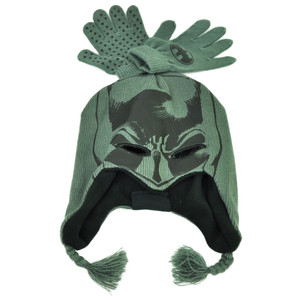 Batman Dark Knight Youth Peruvian Knit & Glove Set Cuffless Super Hero Beanie
