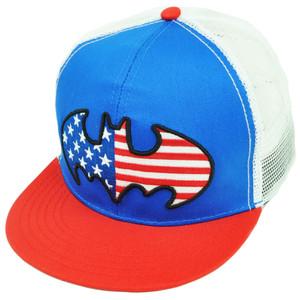 Batman Mesh Snapback Patriotic American Flag Logo Hat Cap DC Comics Super Hero