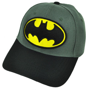 Batman Flex Fit Small Super Hero Gray Hat Cap Cartoon DC Comics Warner Bros Blak