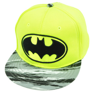 Batman Foam Panel Neon Yellow Fluorescent Snapback Hat Cap  Flat Bill Super Hero