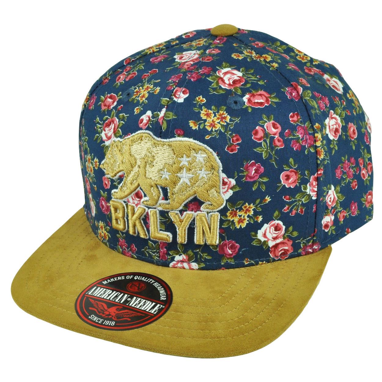 69f9a1ea974 American Needle Brooklyn Flat Bill Strap Back Hat Cap Floral Pattern ...