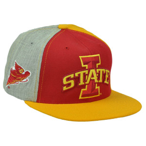 NCAA Starter Iowa State Cyclones Split Yellow Red Gray Hat Cap Snapback Flat Bill