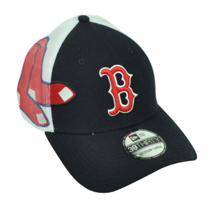 MLB New Era 39Thirty Boston Red Sox Double Mesh Flex Fit Small Medium Hat Cap