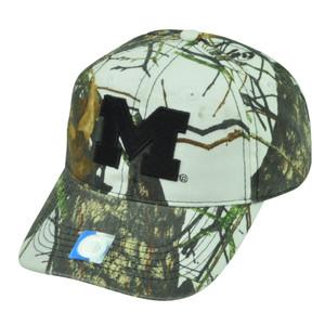 NCAA Michigan Wolverines Camouflage White  Hat Cap Mossy Oak Camo Sport
