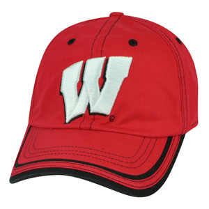 NCAA Wisconsin Badgers Slouch Relaxed Clip Buckle Hat Cap Red Garment Washed