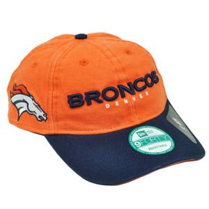 NFL New Era 9Forty 940 Team Canvas Clip Buckle Denver Broncos Hat Cap Orange