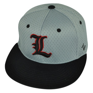 NCAA Louisville Cardinals Zephyr Flat Bill Hat Cap Grey Black Fitted Size Small