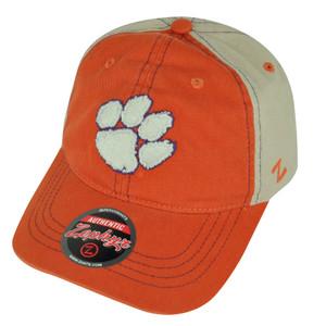 NCAA Zephyr Clemson Tigers Orange Beige Clip Buckle Relaxed Slouch Hat Cap 2Tone