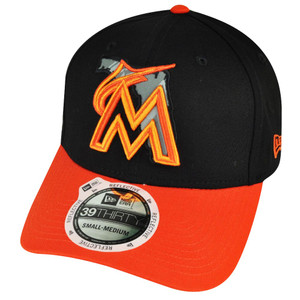 MLB New Era 3930 39thirty Miami Marlins State Flec Curved Bill Black S/M Hat Cap