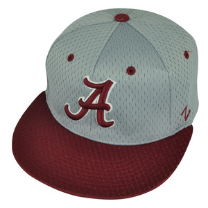NCAA Alabama Crimson Tide Bama Zephyr Flat Bill Hat Cap Small Grey Burgundy