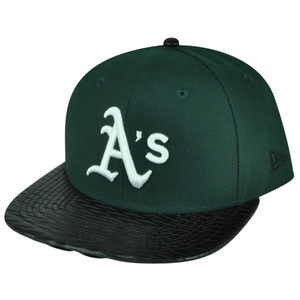 MLB New Era 9Fifty 950 Leather Rip Oakland Athletics Snapback Hat Cap Flat Bill