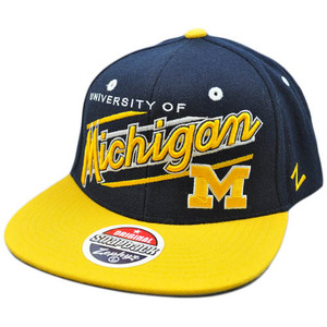 NCAA Michigan Wolverines UM Flat Bill Snapback Zephyr Script Hat Cap Zhat Blue