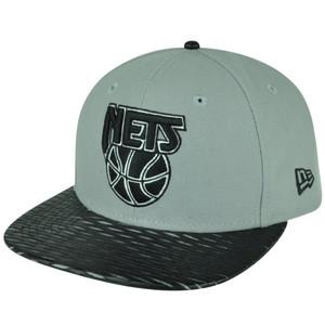 NBA New Era 9Fifty 950 Leather Rip Brooklyn Nets Snapback Hat Cap Flat Bill Gray