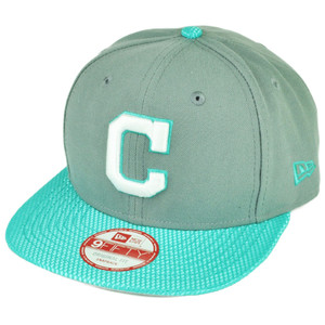 MLB New Era 9Fifty Flash Vize Cleveland Indians Snapback Hat Cap Flat Bill Blue