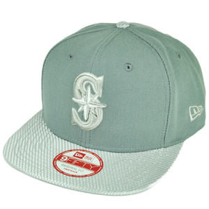 MLB New Era 9Fifty Flash Vize Seattle Mariners Snapback Hat Cap Flat Bill Gray