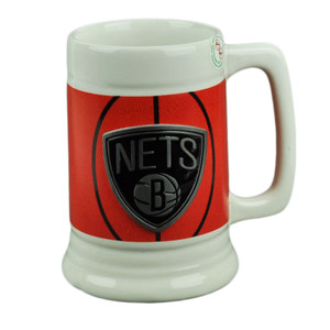 NBA Brooklyn Nets Ceramic Coffee Mug Cup Gameball Fan Basketball Beverage Drink