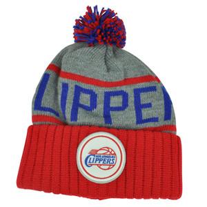 NBA Mitchell Ness KJ58 Los Angeles Clippers Cuffed Pom Pom Knit Beanie Skully Hat