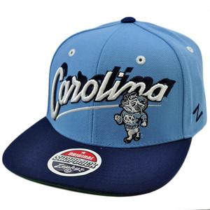 NCAA Carolina Tar Heels UNC Flat Bill Snapback Zephyr Light Blue Navy Hat Cap