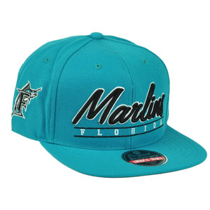 MLB American Needle Florida Marlins Snapback Flat Bill Hat Sport Scripter Retro