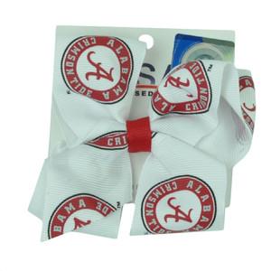 NCAA Alabama Crimson Tide Hair Bow White Red Game Day Women Accessories Spirit