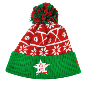 MLB New Era Sweater Chill Houston Astros Pom Pom Cuffed Knit Beanie Winter Hat