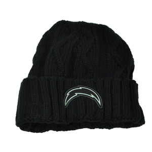 NFL New Era Grey Collection San Diego Chargers Knit Beanie Crochet Hat Blk Toque