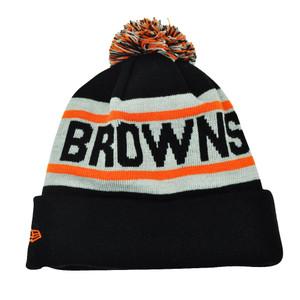 NFL New Era Biggest Fan Pom Pom Striped Cuffed Cleveland Browns Knit Beanie Hat