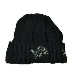 NFL New Era Grey Collection Detroit Lions Knit Beanie Crochet Hat Black Toque