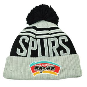 NBA New Era Winter Blaze Pom Pom Cuffed Knit Beanie San Antonio Spurs Hat Toque