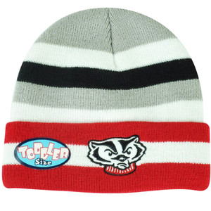 NCAA Wisconsin Badgers Striped Cuffed Knit Beanie Toddler Toque Winter Game Day
