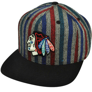 NHL American Needle Chicago Blackhawks Striped 5 Panel Flat Snapback Hat Cap