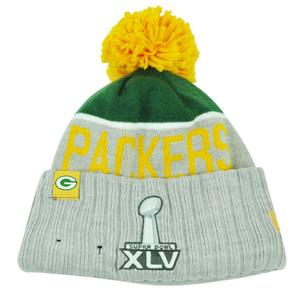NFL New Era Super Bowl XLV Sport Knit Green Bay Packers Knit Beanie Cuffed Hat