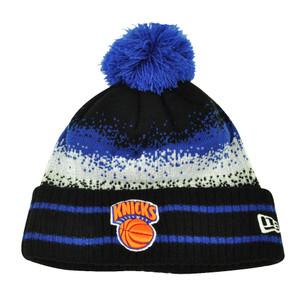 NBA New Era Spec Blend New York Knicks Cuffed Pom Pom Knit Beanie Hat Toque Blue