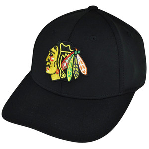 NHL American Needle Chicago Blackhawks Flex Fit Stretch Black Large Hat Cap