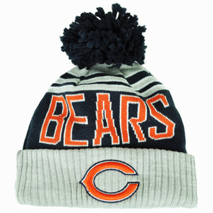 NFL New Era Chicago Bears Winter Blaze Pom Knit Beanie Cuffed Hat Toque Blue