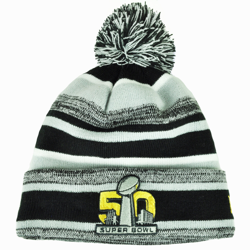 NFL New Era Super Bowl 50 Sport Knit Beanie Striped Cuffed Pom Pom ... c2ccc121d624