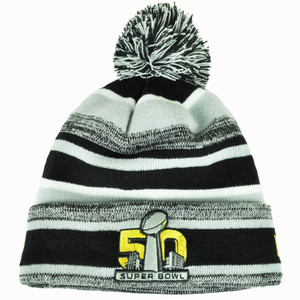 NFL New Era Super Bowl 50 Sport Knit Beanie Striped Cuffed Pom Pom Black Gray