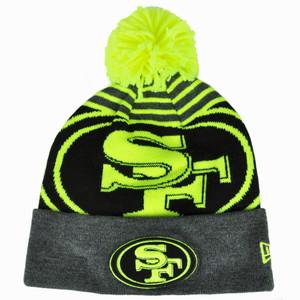 NFL New Era San Francisco 49ers Logo Whiz Pom Pom Knit Beanie Cuffed Hat Neon