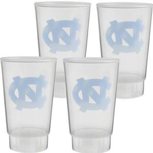 NCAA North Carolina Tar Heels Set of 4 Cups Plastic 16oz Translucent Liquid