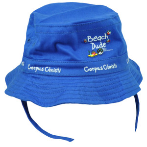 Beach Dude Corpus Christi City Texas State Toddler Sun Bucket Hat Blue USA Town
