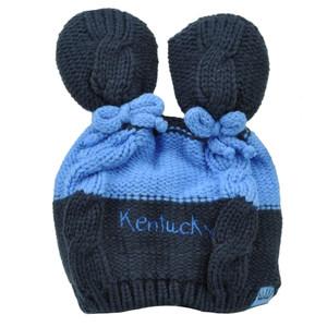 Kentucky State Infant Striped Knit Beanie Navy Blue Crochet Ear Ball Hat USA
