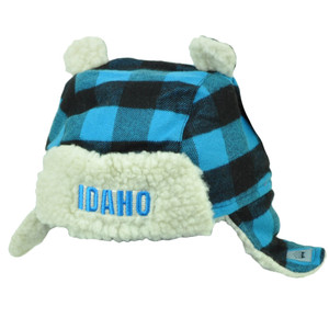 Idaho Gem State USA Blue Black Plaid Toddler Knit Ear Flap  Beanie Ears Winter