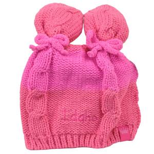 Idaho State Infant Striped Knit Beanie Pink Crochet Ear Ball Hat USA America