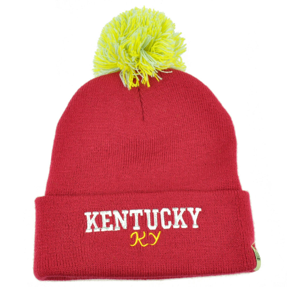 91996a9ca1a Kentucky Pom Pom Cuffed Knit Beanie Bluegrass State USA Acrylic Womens Pink.  Your Price   13.95 (You save  14.05). Image 1