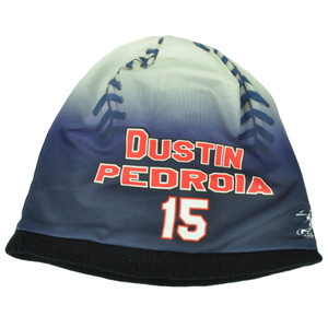 Boston Red Sox Mens Baseball Knit Beanie Cuffless Blue White Dustin Pedroia 15