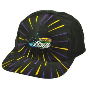 Tampa Bay Devil Rays Deadstock Vintage Snapback Hat Cap Baseball Burst Black