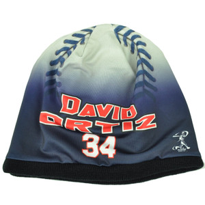 Boston Red Sox Mens Baseball Knit Beanie Cuffless Blue White David Ortiz 34