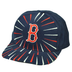 Boston Red Sox Deadstock Vintage Snapback Hat Cap Baseball Navy Blue Red Burst