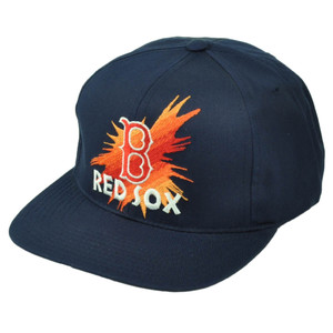 Boston Red Sox Deadstock Vintage Old School Snapback Baseball Hat Cap Navy Blue