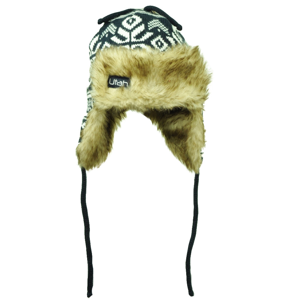 Utah State USA Faux Fur Ear Flap Aviator Knit Beanie Hat Navy Blue Tassel  White. Your Price   14.95 (You save  13.05). Image 1 aa6062f916e6